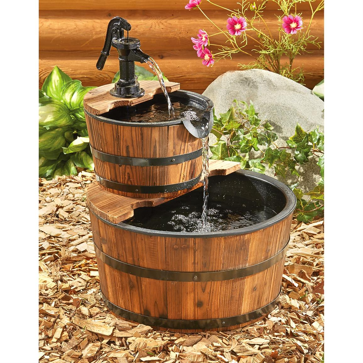 Image of: Barrel Water Fountain Size