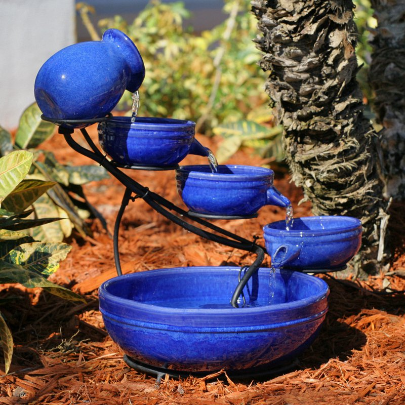 Image of: Bird Bath Fountain Blue