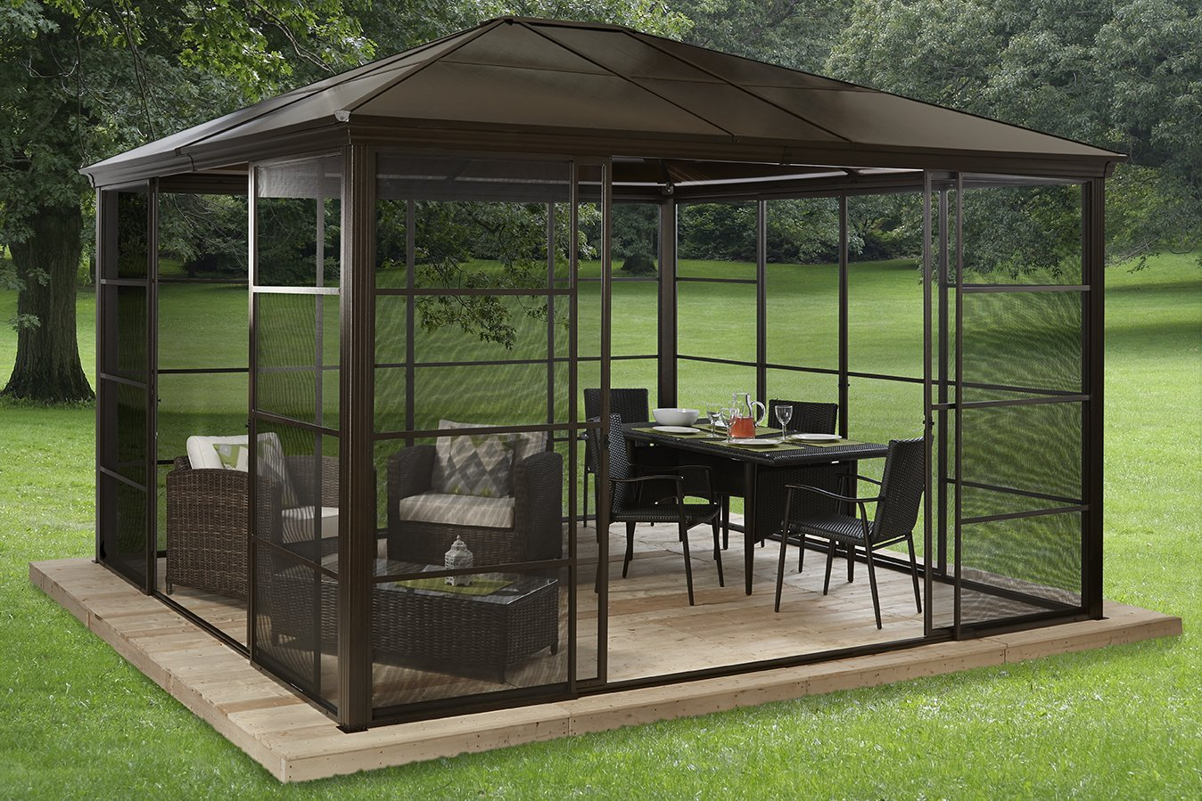 Image of: Black Aluminum Roof Gazebo