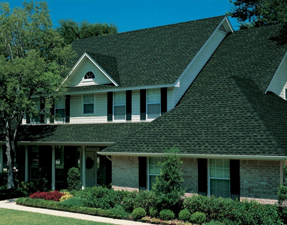 Image of: Blue Roof Shingles Installation