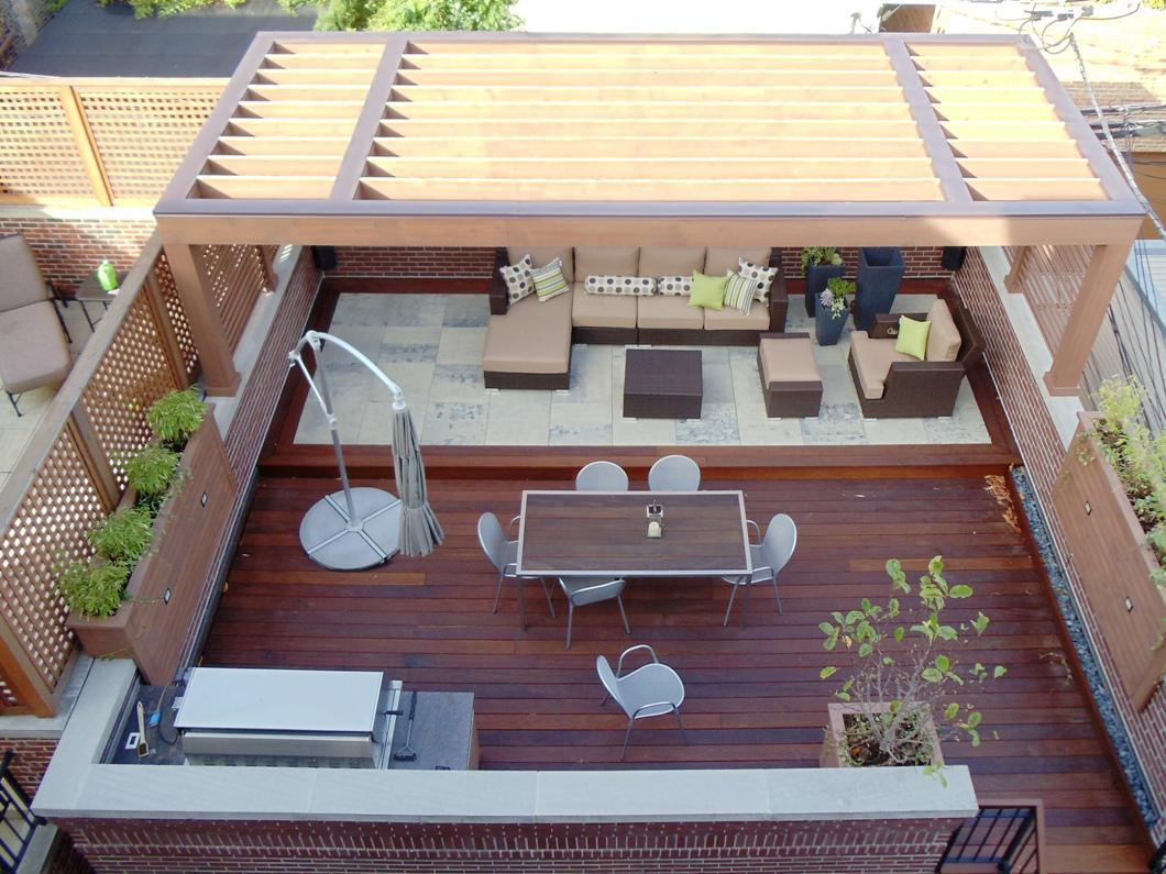 Image of: Building a Roof Over a Deck Landscape
