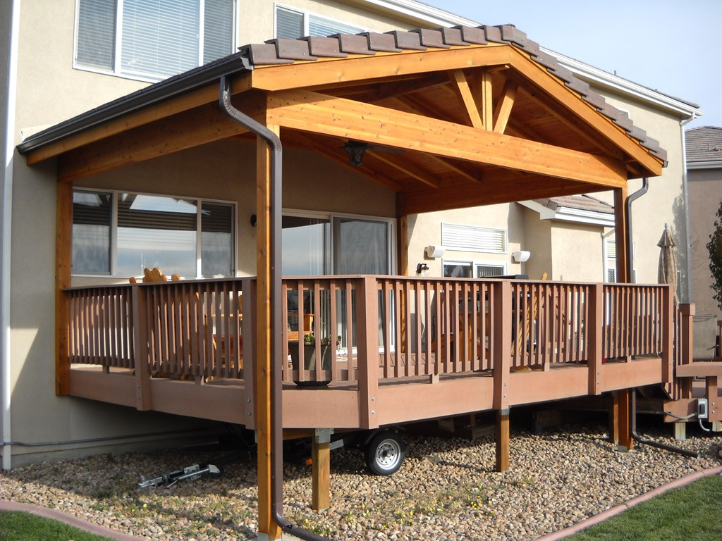 Image of: Building a Roof Over a Deck Wood