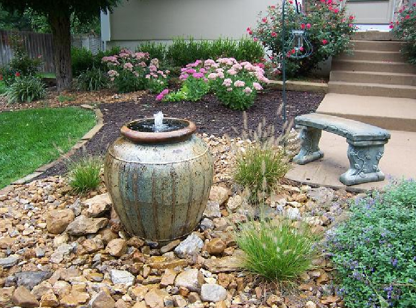 Image of: Contemporary Fountains Backyard
