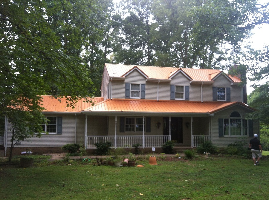 Image of: Copper Metal Roof Install