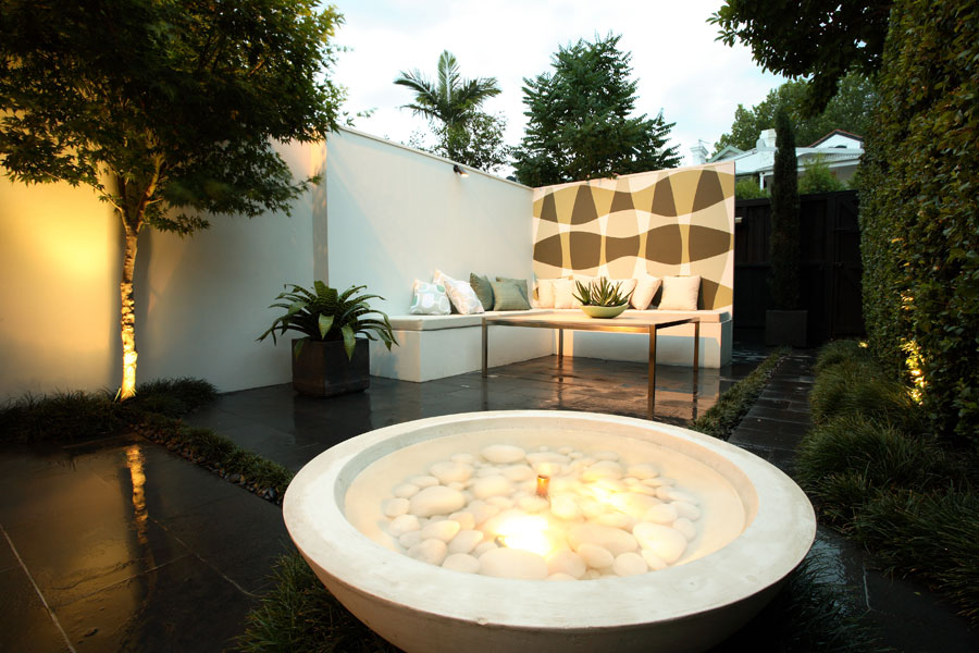Image of: Courtyard Fountains Lighting