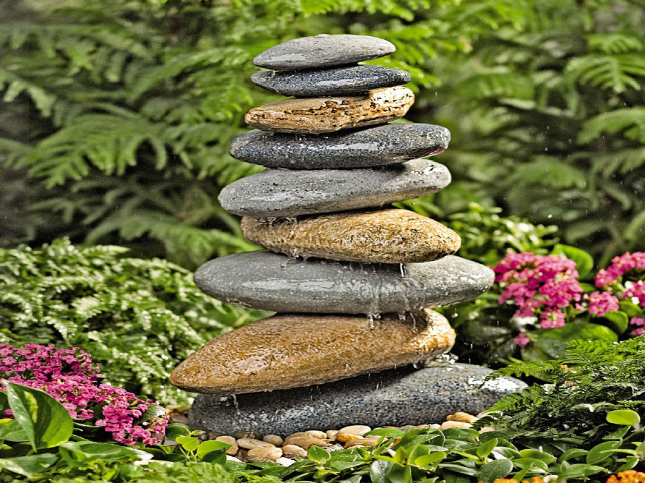 Image of: Diy Garden Fountain Stones