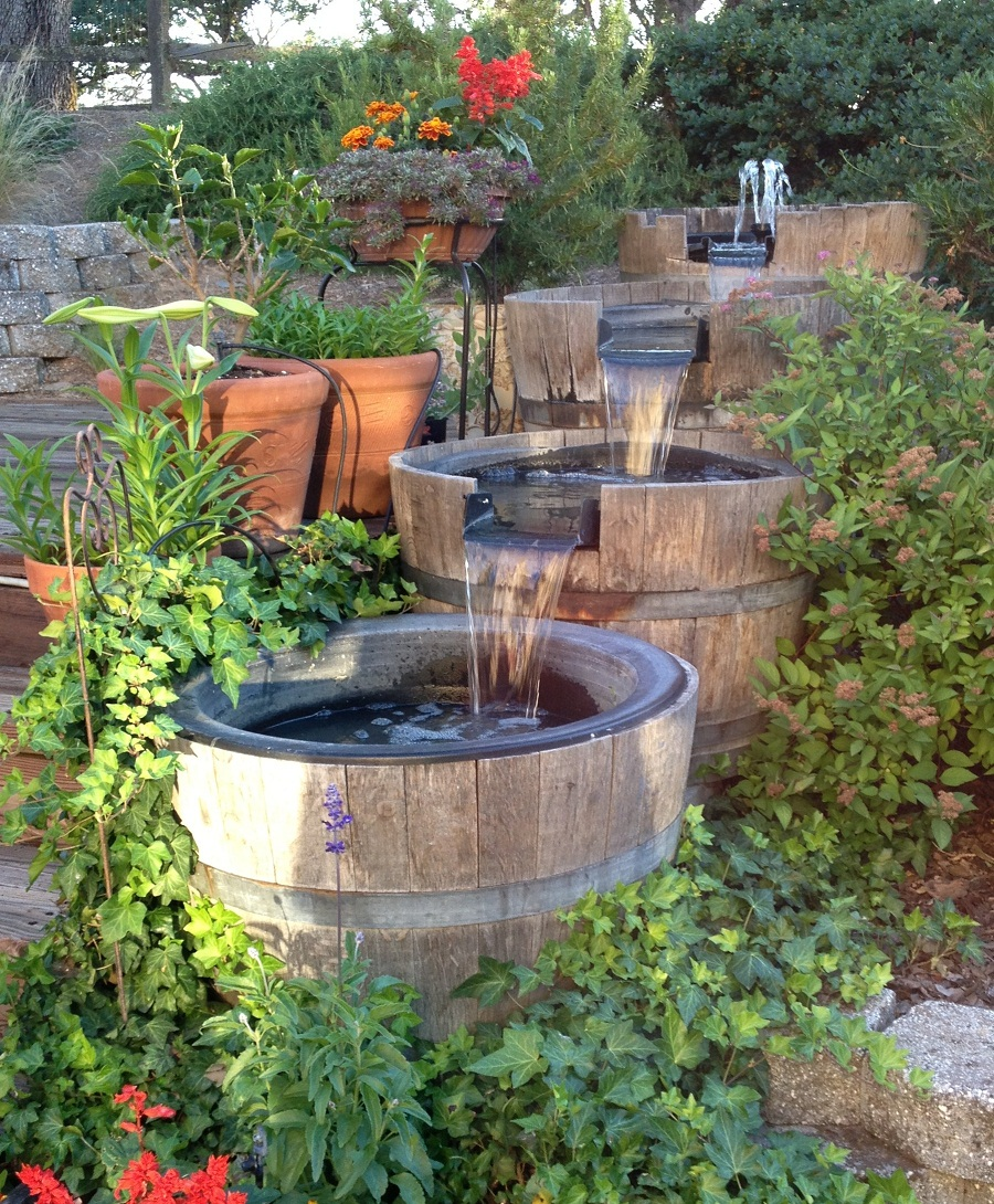 Garden Barrel Water Fountain