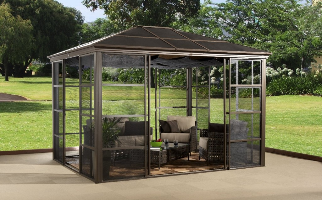 Image of: Hardtop Aluminum Roof Gazebo