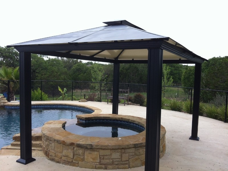 Image of: Pool Aluminum Roof Gazebo