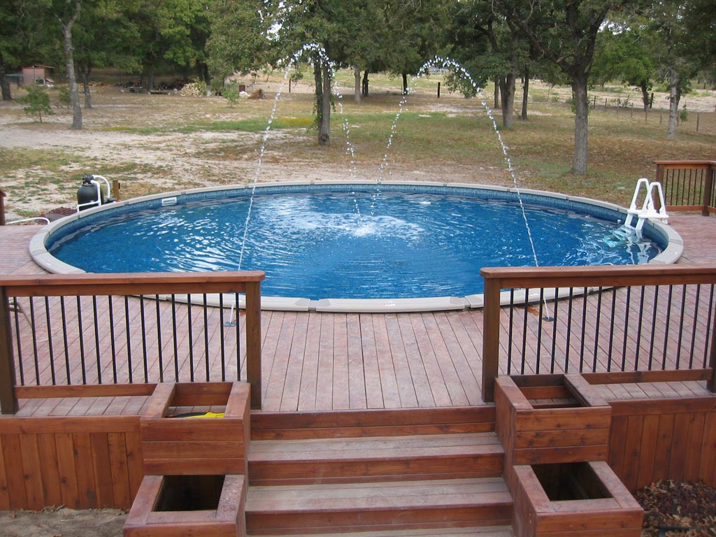 Image of: Round Above Ground Pool Fountain