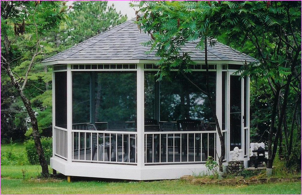 Image of: Shaped Aluminum Roof Gazebo