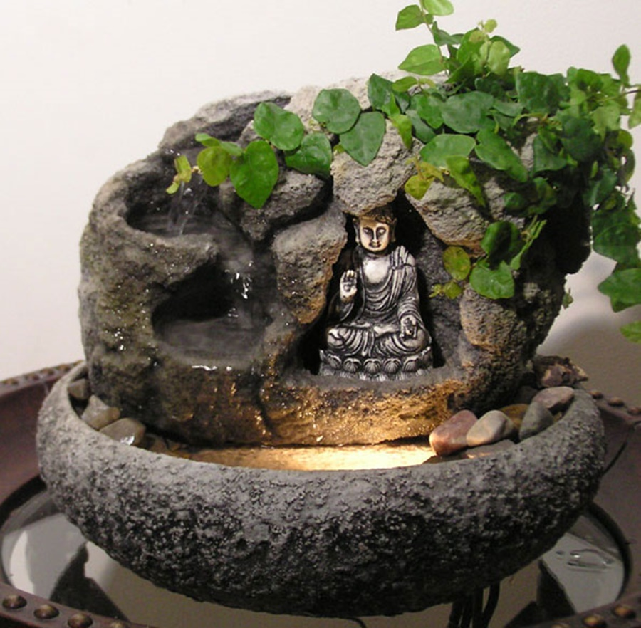 Image of: Small Tabletop Buddha Water Fountain