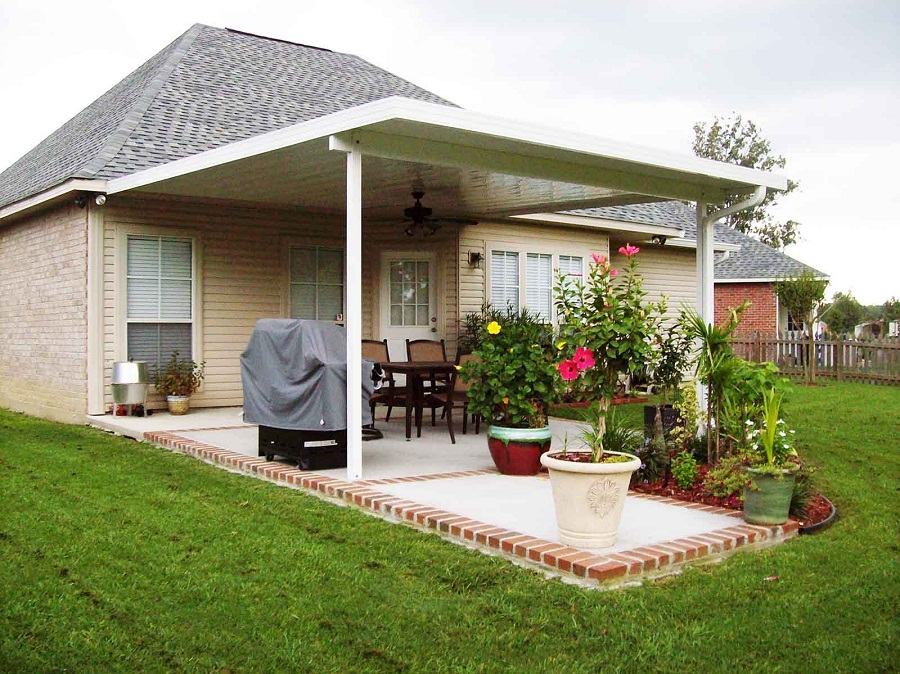 Image of: Small White Aluminum Patio Roof