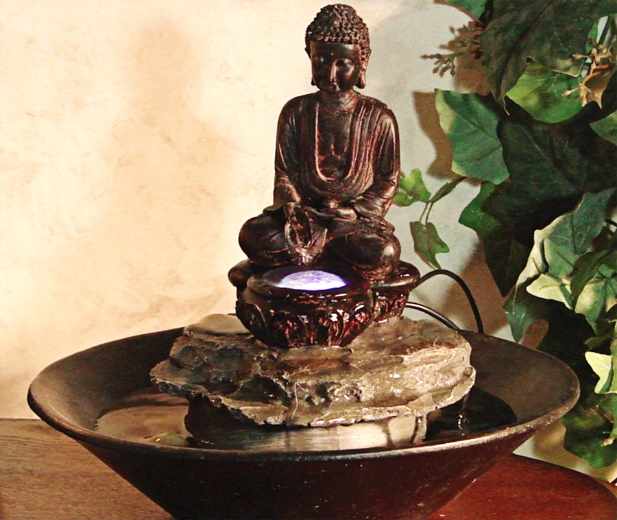 Vintage Tabletop Buddha Water Fountain