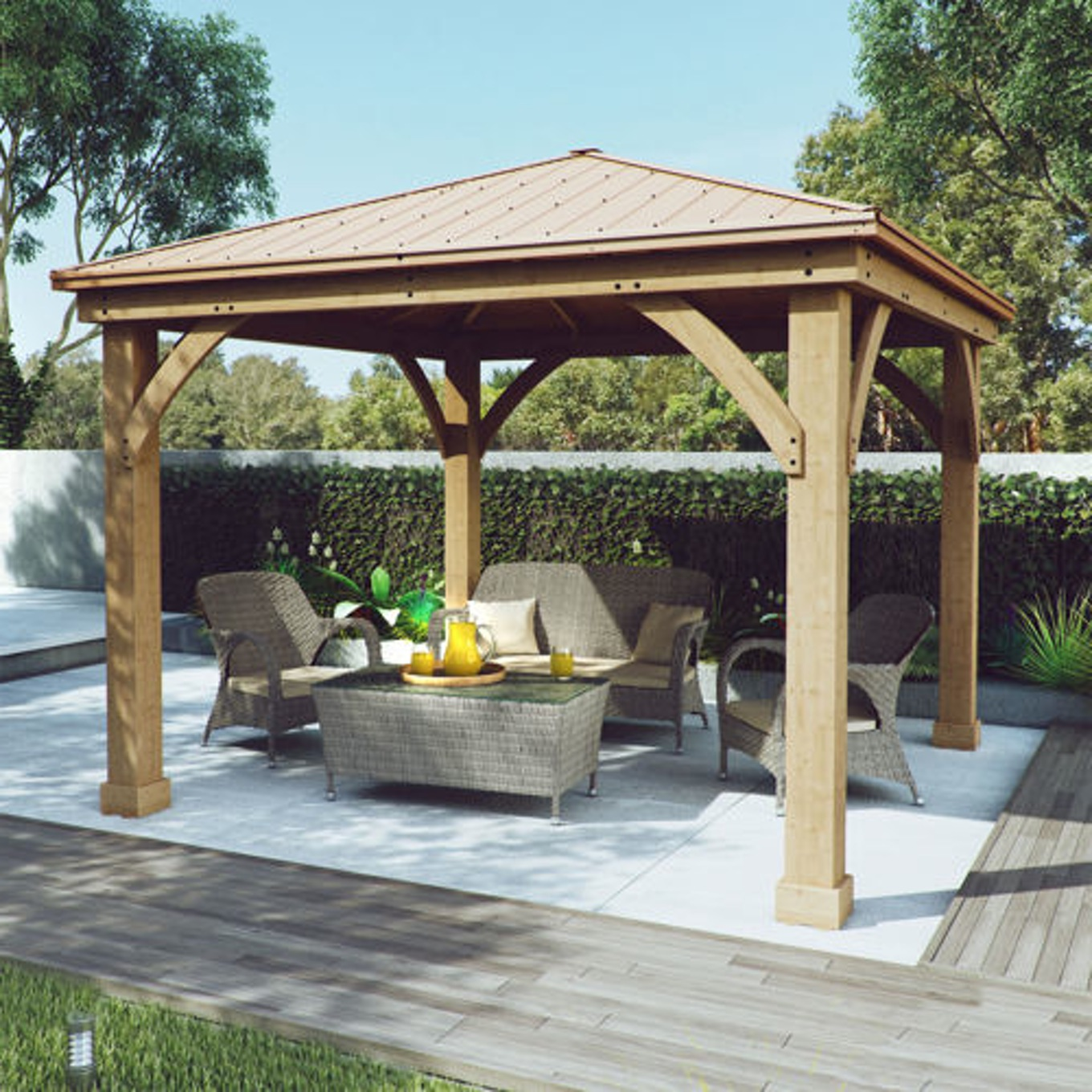 Image of: Wood and Aluminum Roof Gazebo