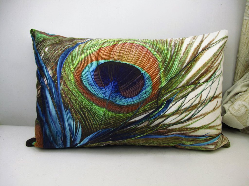 Image of: Beaded Peacock Pillow