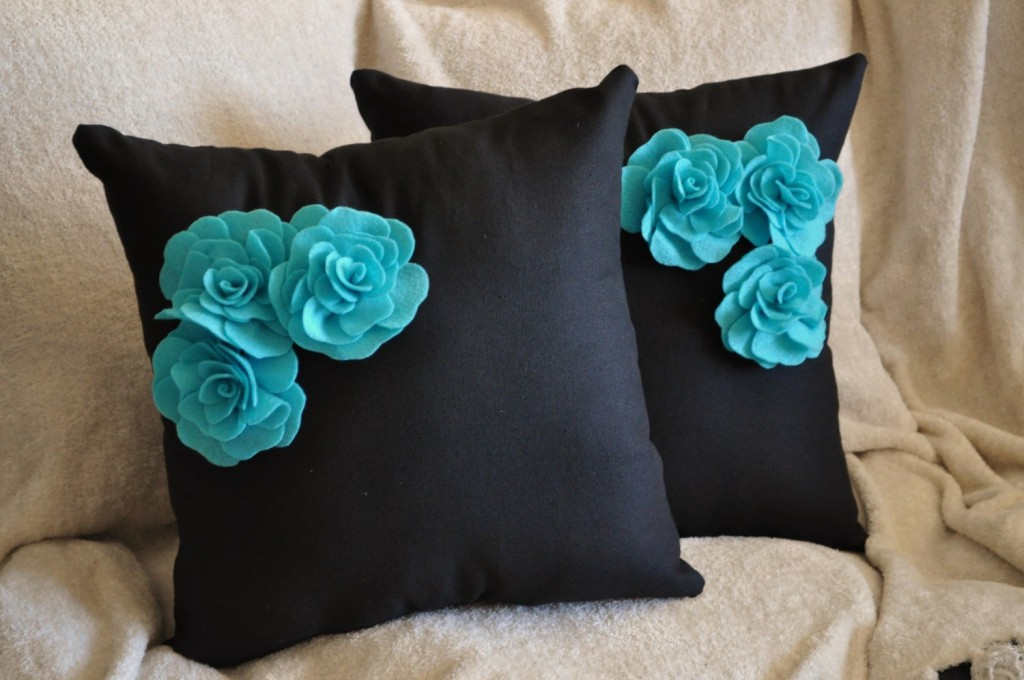 Black and Turquoise Throw Pillows