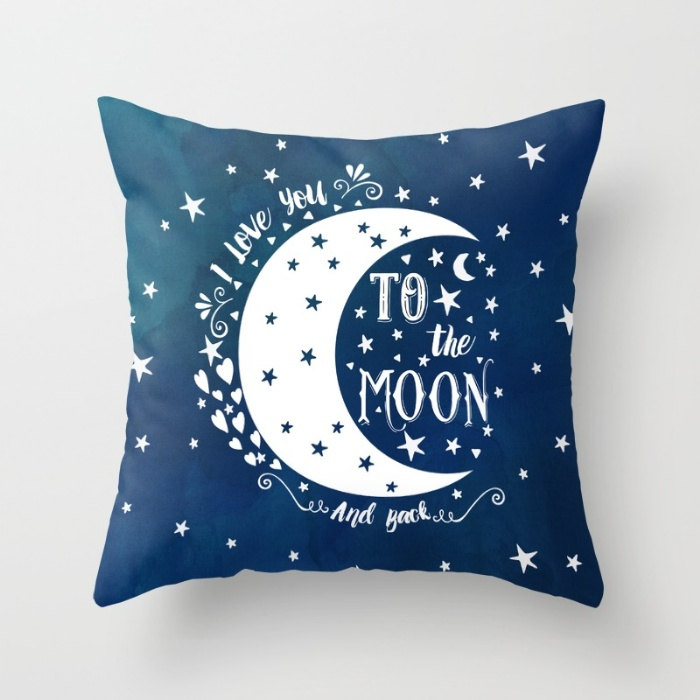Image of: Blue To The Moon And Back Pillow