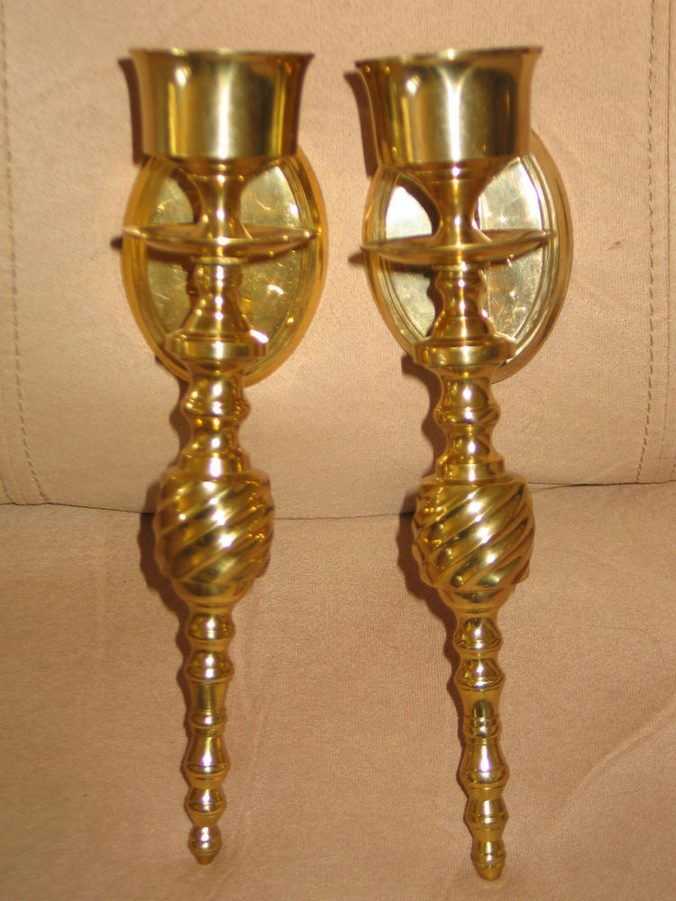 Image of: Brass Candle Sconces Holder Set