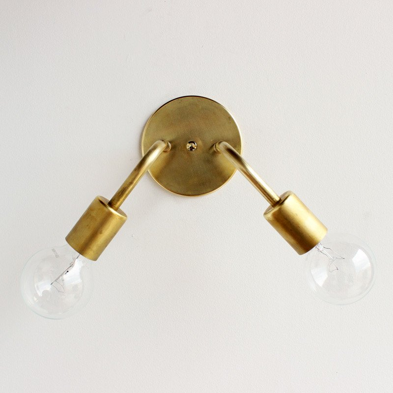 Brass Plug In Wall Sconce Double