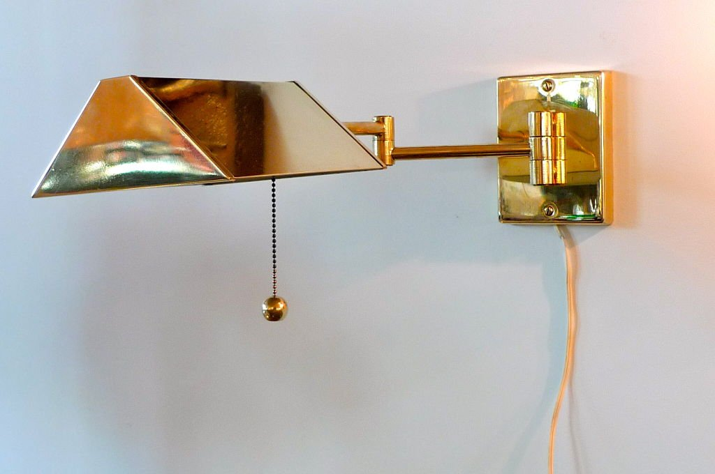 Image of: Brass Swing Arm Sconce Shine