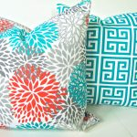 Brown and Turquoise Outdoor Pillows