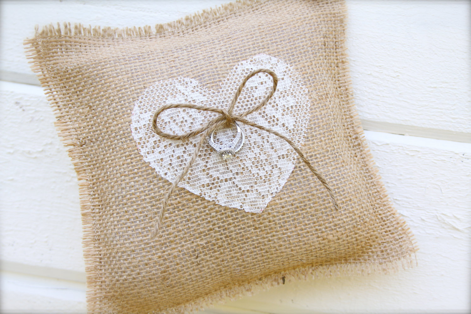 Image of: Burlap Lace Ring Bearer Pillow