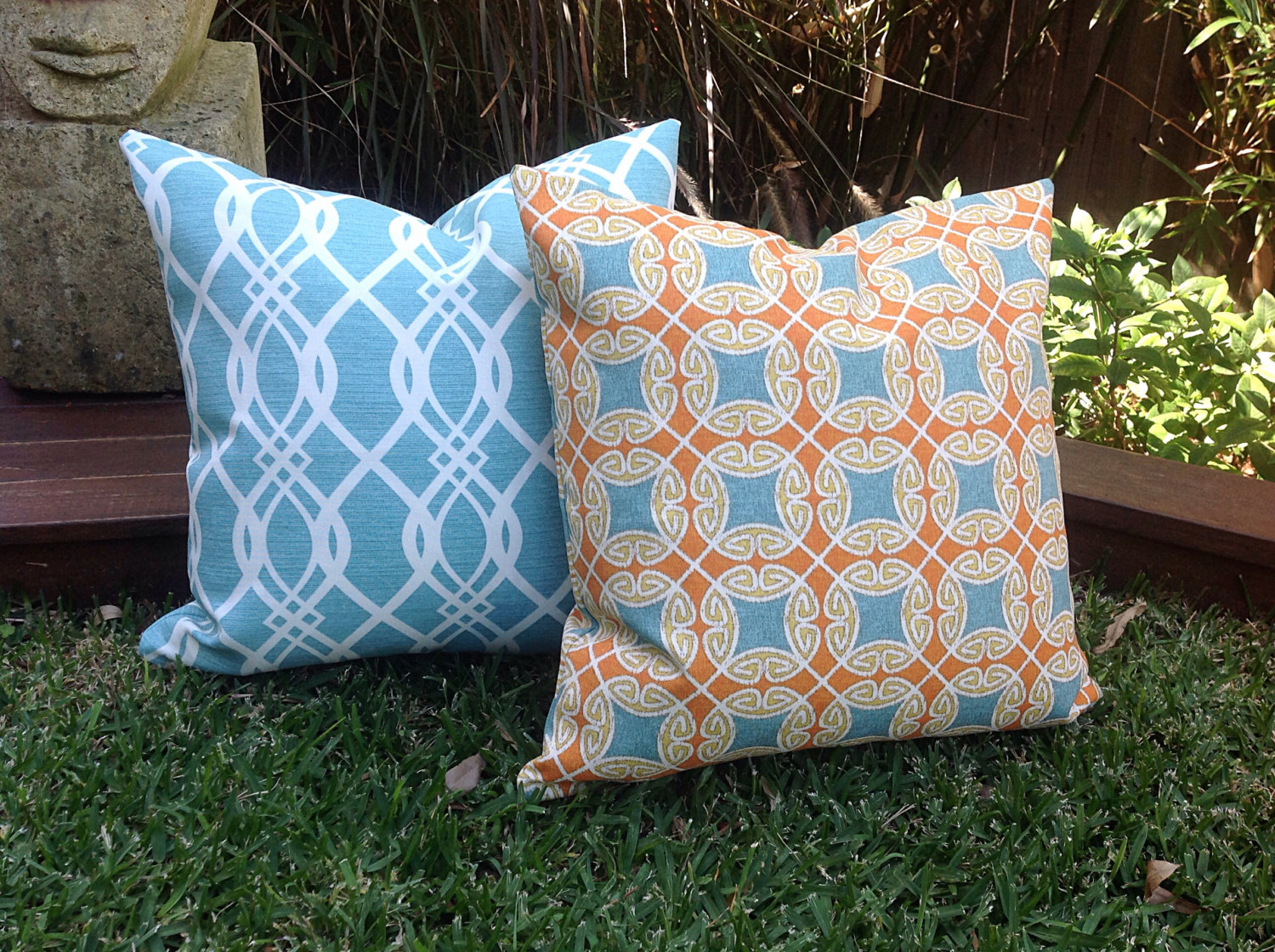 Image of: Chevron Turquoise Outdoor Pillows