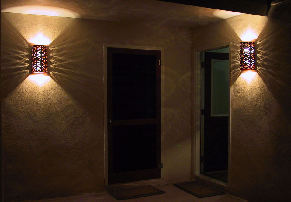 Image of: Copper Sconce Patio Wall