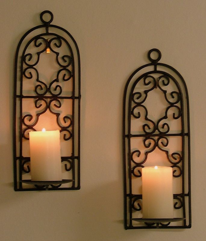 Image of: Double Iron Candle Sconce