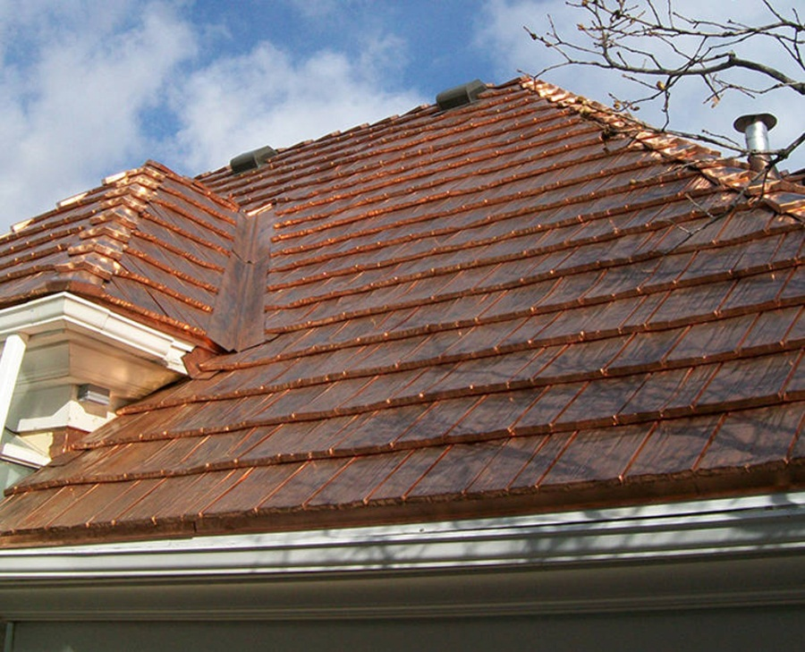Image of: Elegant Copper Roof Shingles