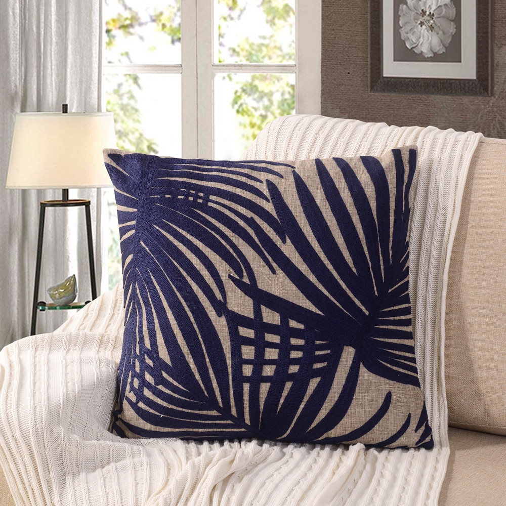 Image of: Embroidered Leaf Throw Pillows