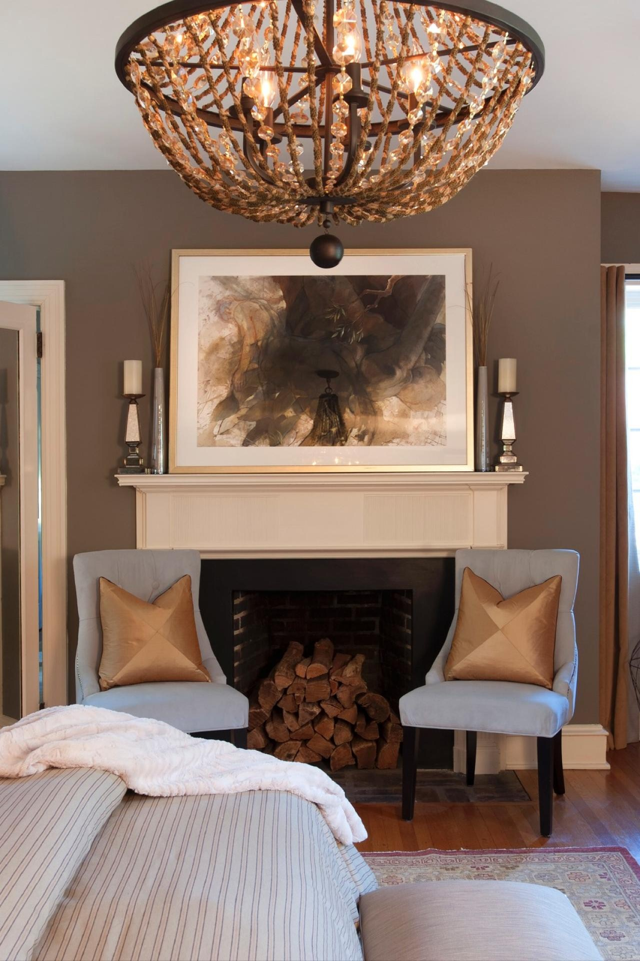 Image of: Fireplace Sconces Bed