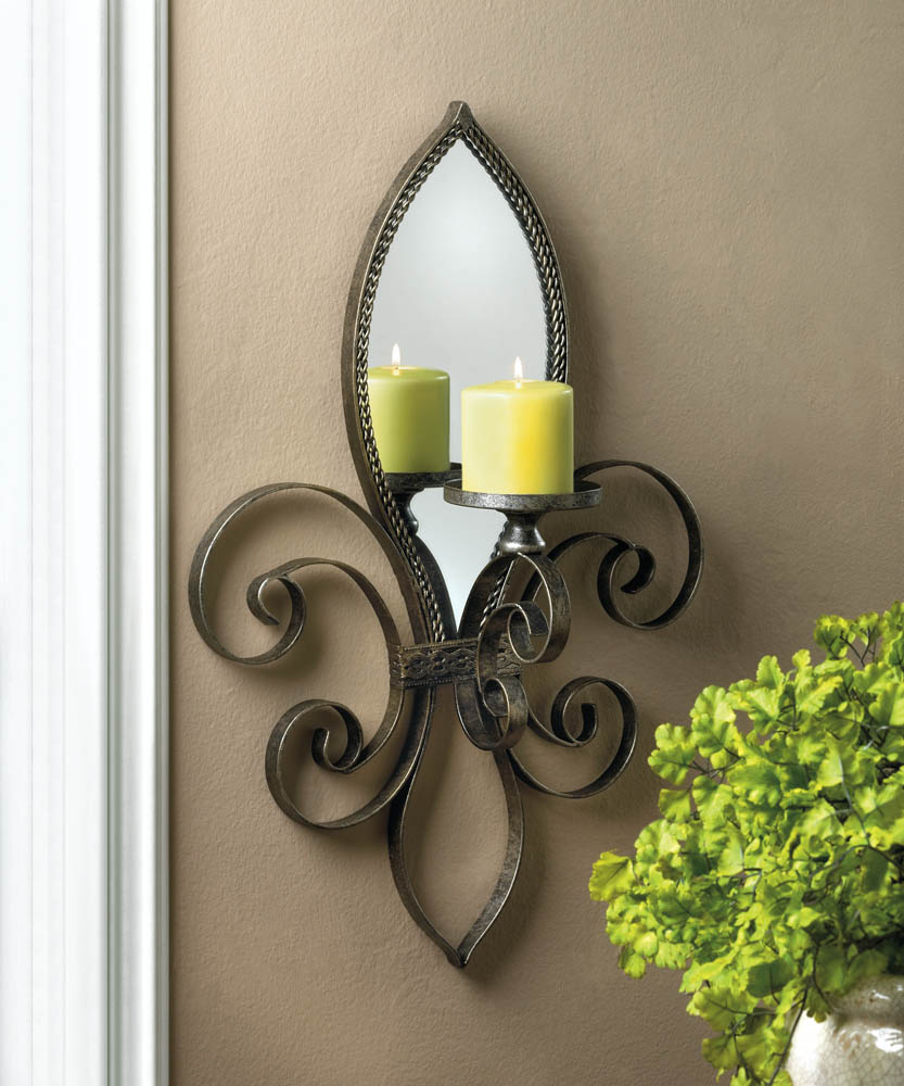 Image of: Fleur De Lis Candle Sconces Wall Decor