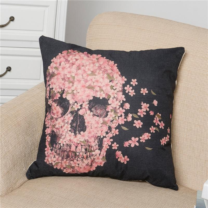 Image of: Flora Skull Pillow