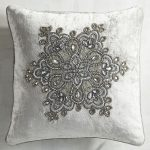 Floral Silver Beaded Pillow