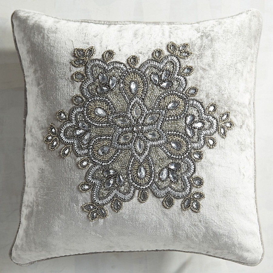 Image of: Floral Silver Beaded Pillow