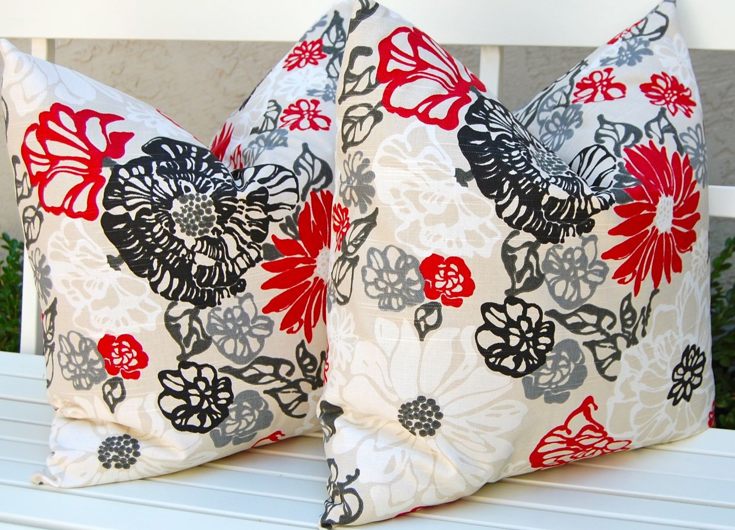 Image of: Flower Red And Grey Throw Pillows
