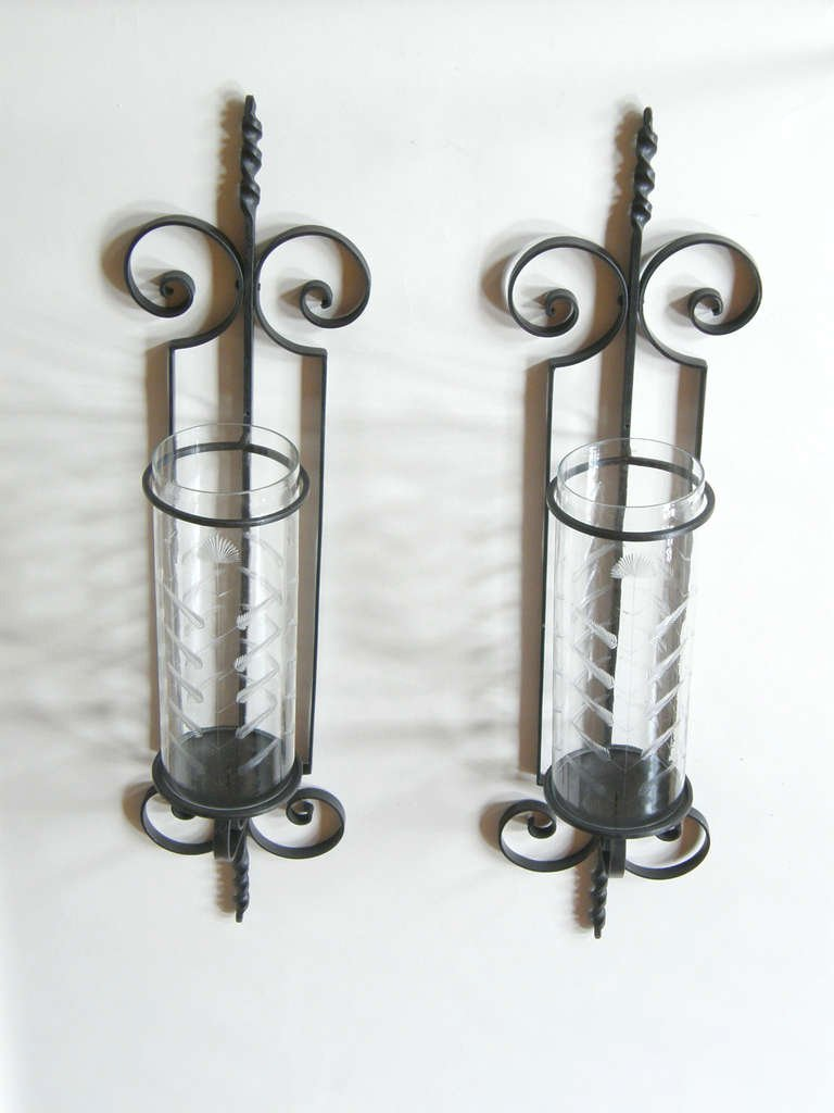 Glass Iron Candle Sconce