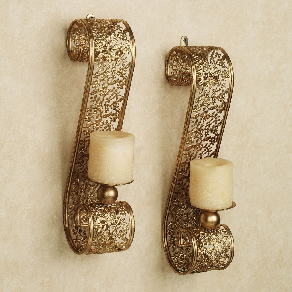 Image of: Gold Candle Holder Sconces