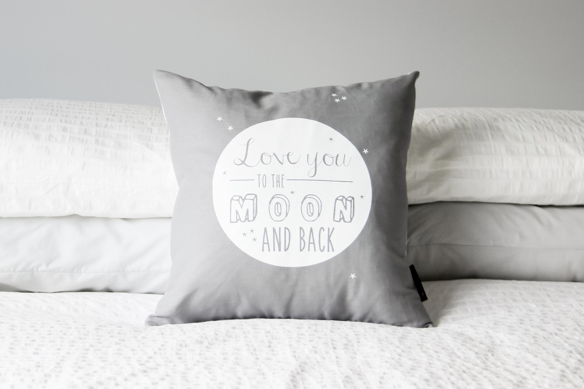 Image of: Grey To The Moon And Back Pillow