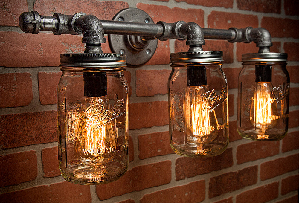 Image of: Industrial Bathroom Sconce Style