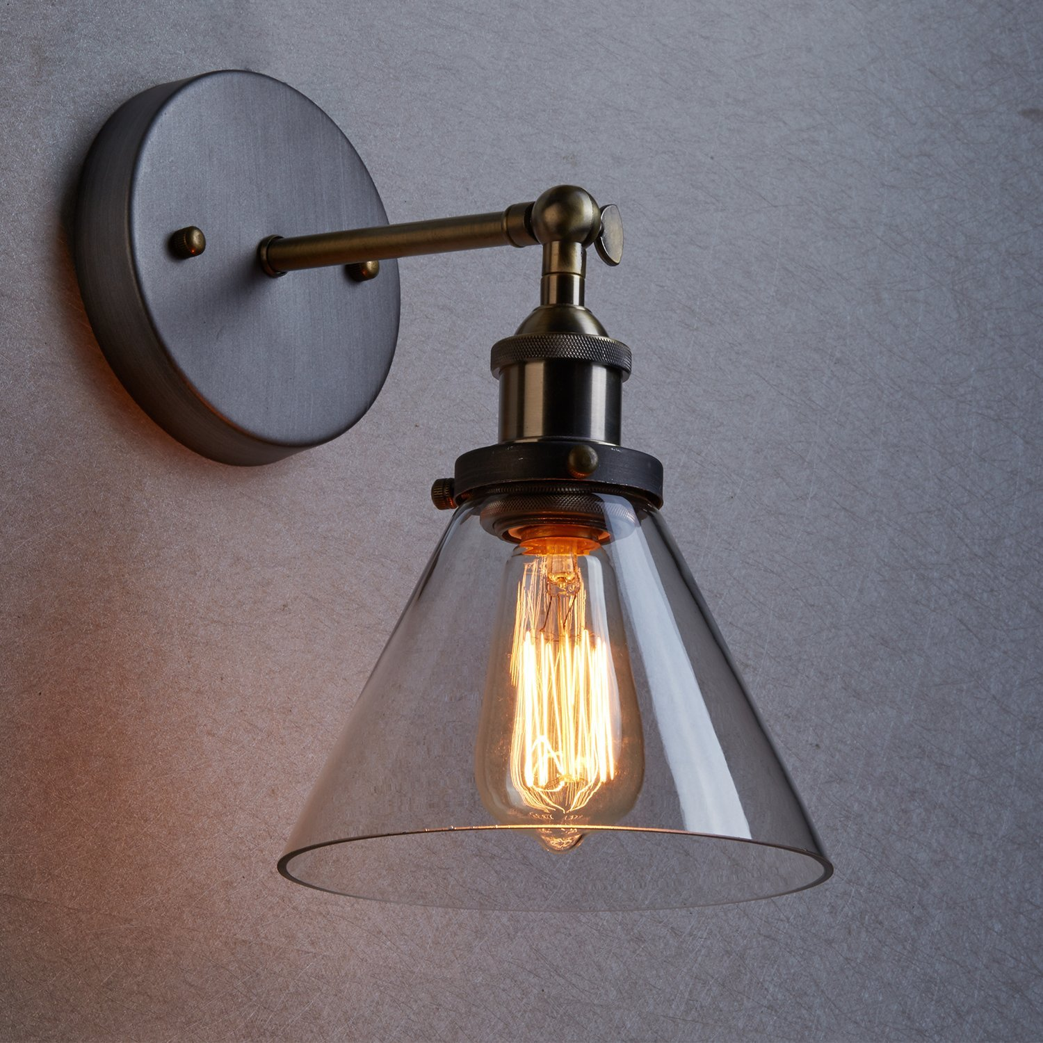 Image of: Industrial Wall Sconce Light Glass