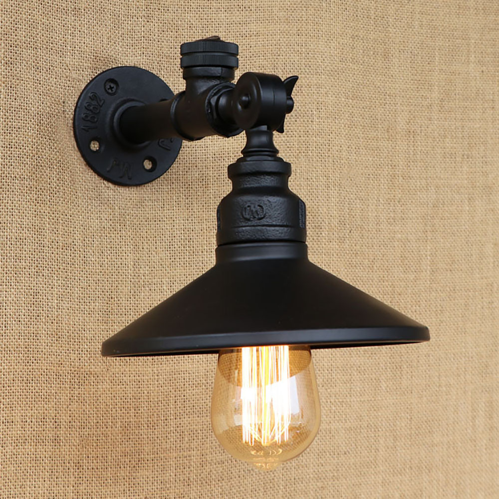 Image of: Iron Pipe Black Sconce Lights