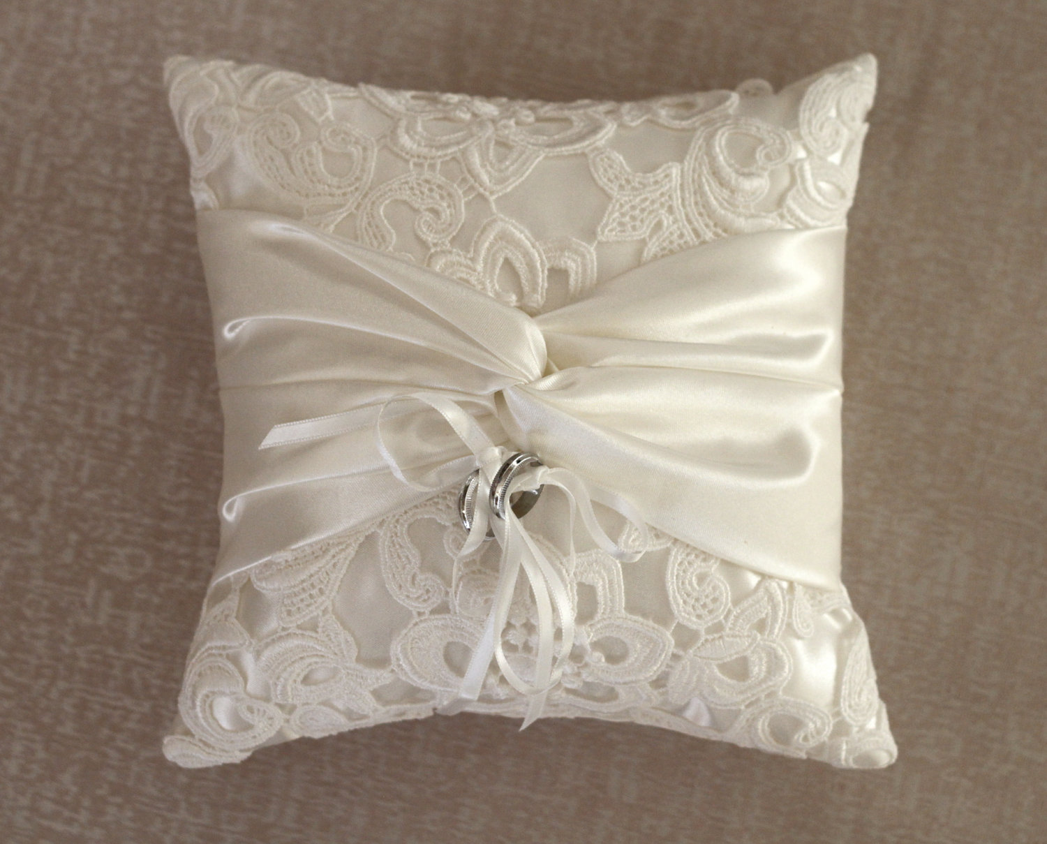 Image of: Lace Ring Bearer Pillow