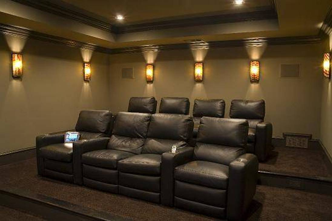 Image of: Leather Home Theater Wall Sconces