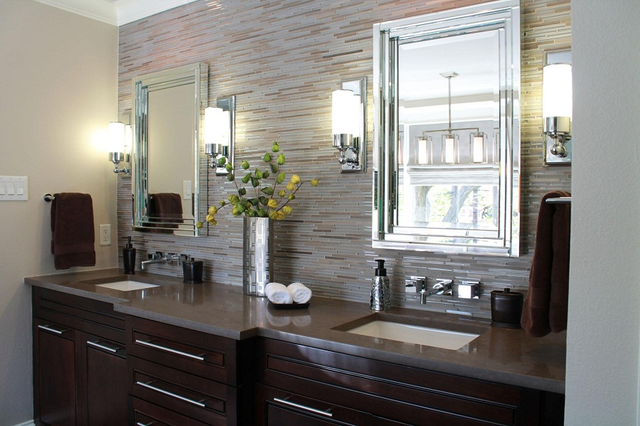 Image of: Modern Bathroom Sconce Height