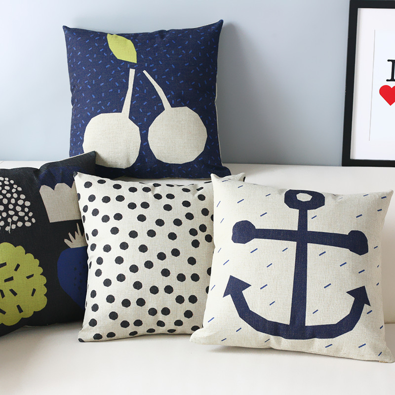 Image of: Navy Blue Throw Pillows Anchor