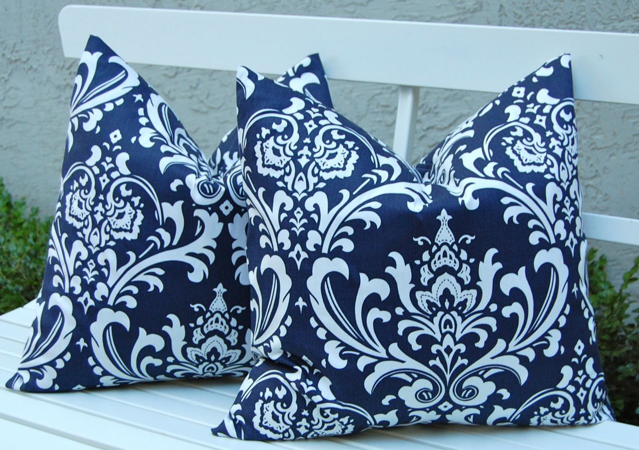 Navy Blue Throw Pillows Outdoor