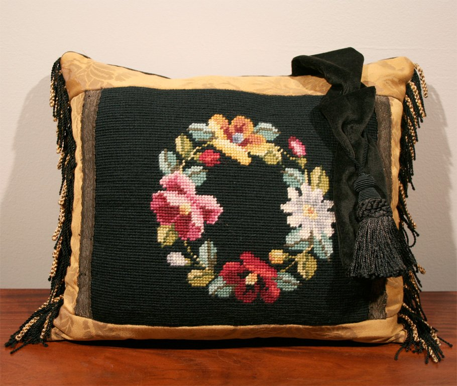 Image of: Needlepoint Pillows Flower